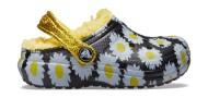 Crocs™ Classic Lined Vacay Vibes Clog Kid's Black Daisy